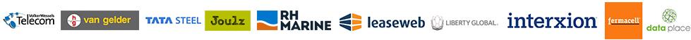 Volker Wessels Telecom, Van Gelder, TATA Steel, Joulz, RH Marine, Leaseweb, Liberty Global, Interxion, Fermacell, Data Place